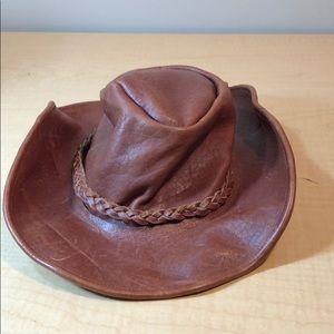 Camel braid leather? Cowboy western brimmed hat
